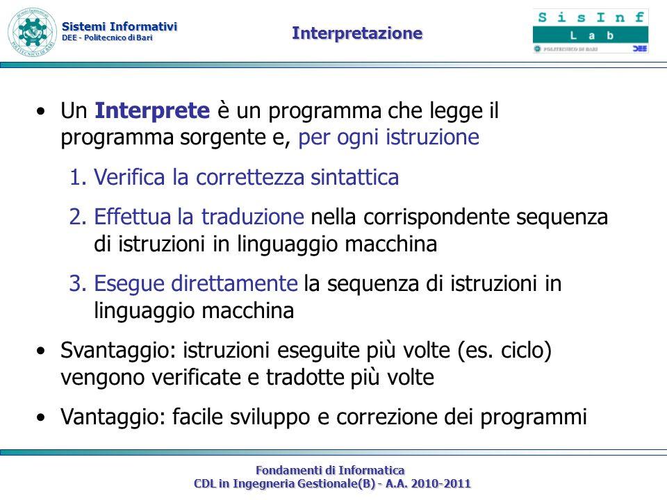 Sistemi Informativi DEE - Politecnico di Bari Fondamenti di Informatica CDL in Ingegneria Gestionale(B) - A.A. 2010-2011 Un Interprete è un programma