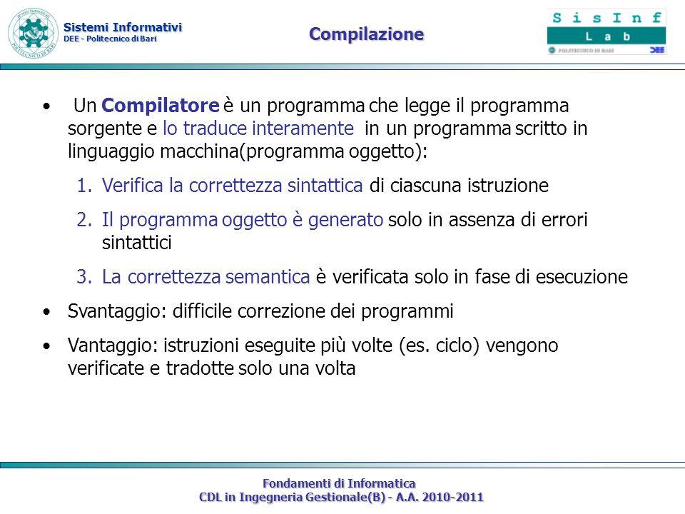 Sistemi Informativi DEE - Politecnico di Bari Fondamenti di Informatica CDL in Ingegneria Gestionale(B) - A.A. 2010-2011 Compilazione Un Compilatore è