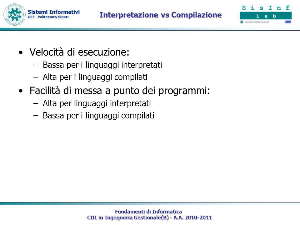Sistemi Informativi DEE - Politecnico di Bari Fondamenti di Informatica CDL in Ingegneria Gestionale(B) - A.A. 2010-2011 Interpretazione vs Compilazio