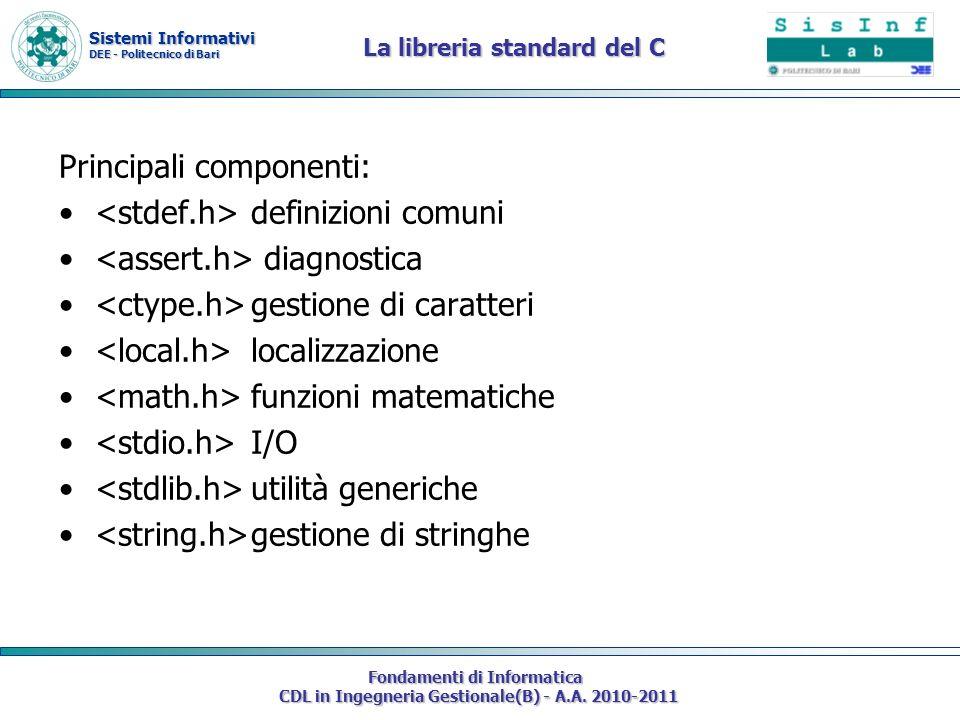 Sistemi Informativi DEE - Politecnico di Bari Fondamenti di Informatica CDL in Ingegneria Gestionale(B) - A.A. 2010-2011 La libreria standard del C Pr