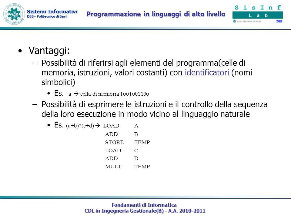 Sistemi Informativi DEE - Politecnico di Bari Fondamenti di Informatica CDL in Ingegneria Gestionale(B) - A.A. 2010-2011 Programmazione in linguaggi d