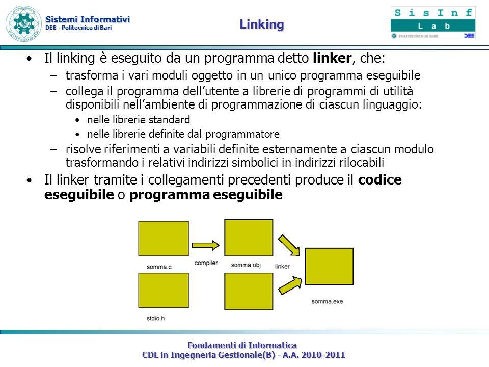 Sistemi Informativi DEE - Politecnico di Bari Fondamenti di Informatica CDL in Ingegneria Gestionale(B) - A.A. 2010-2011 Linking Il linking è eseguito