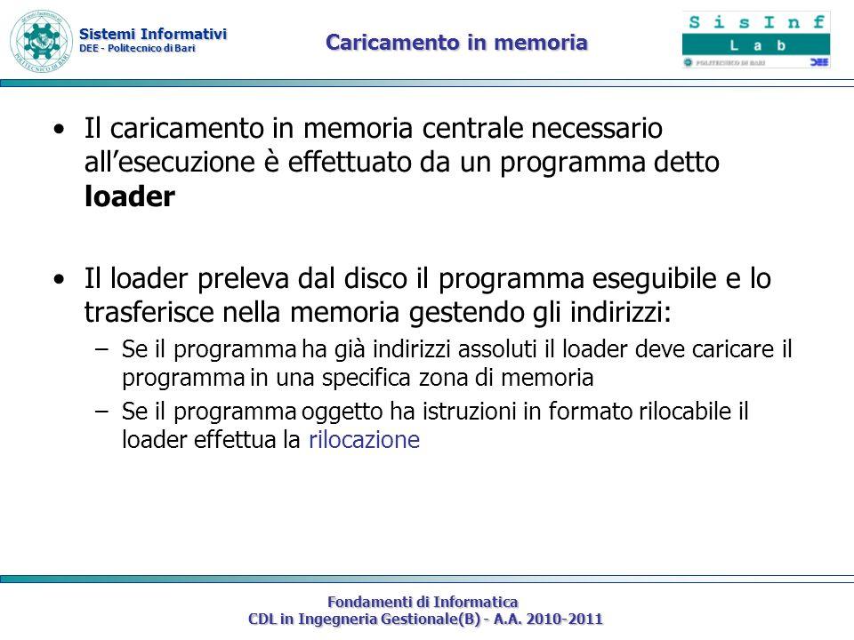 Sistemi Informativi DEE - Politecnico di Bari Fondamenti di Informatica CDL in Ingegneria Gestionale(B) - A.A. 2010-2011 Caricamento in memoria Il car