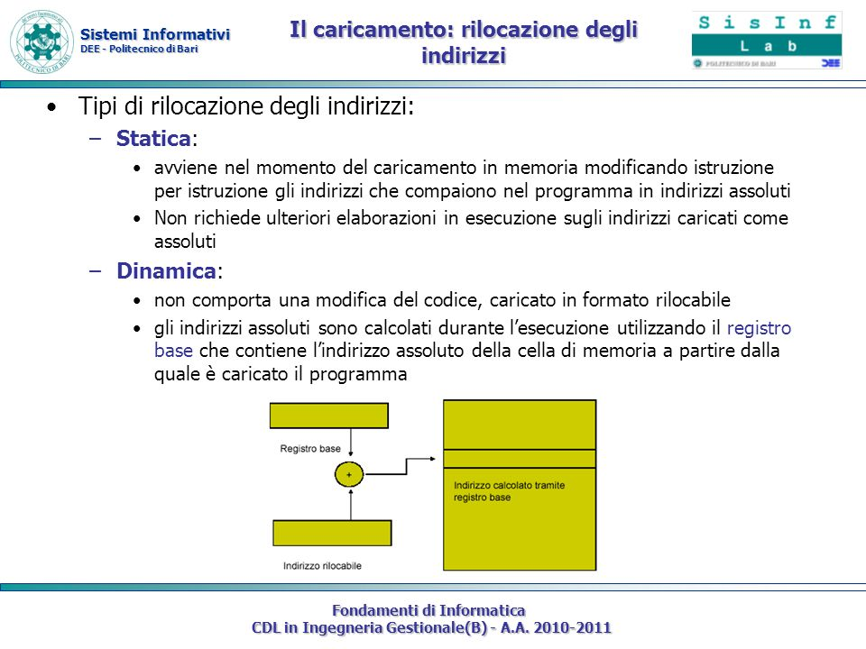 Sistemi Informativi DEE - Politecnico di Bari Fondamenti di Informatica CDL in Ingegneria Gestionale(B) - A.A. 2010-2011 Il caricamento: rilocazione d