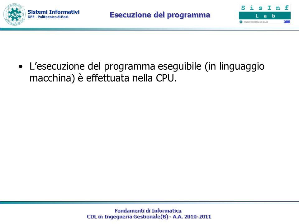 Sistemi Informativi DEE - Politecnico di Bari Fondamenti di Informatica CDL in Ingegneria Gestionale(B) - A.A. 2010-2011 Esecuzione del programma Lese