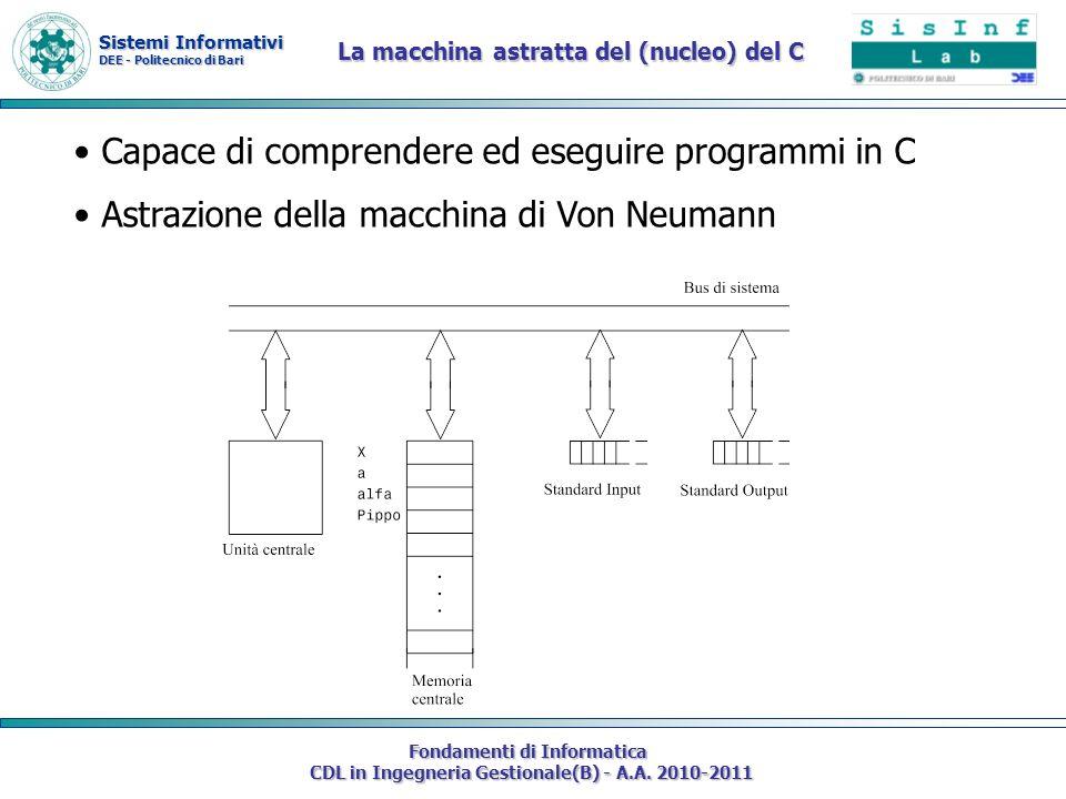 Sistemi Informativi DEE - Politecnico di Bari Fondamenti di Informatica CDL in Ingegneria Gestionale(B) - A.A. 2010-2011 La macchina astratta del (nuc