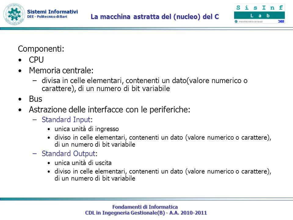 Sistemi Informativi DEE - Politecnico di Bari Fondamenti di Informatica CDL in Ingegneria Gestionale(B) - A.A. 2010-2011 Componenti: CPU Memoria centr