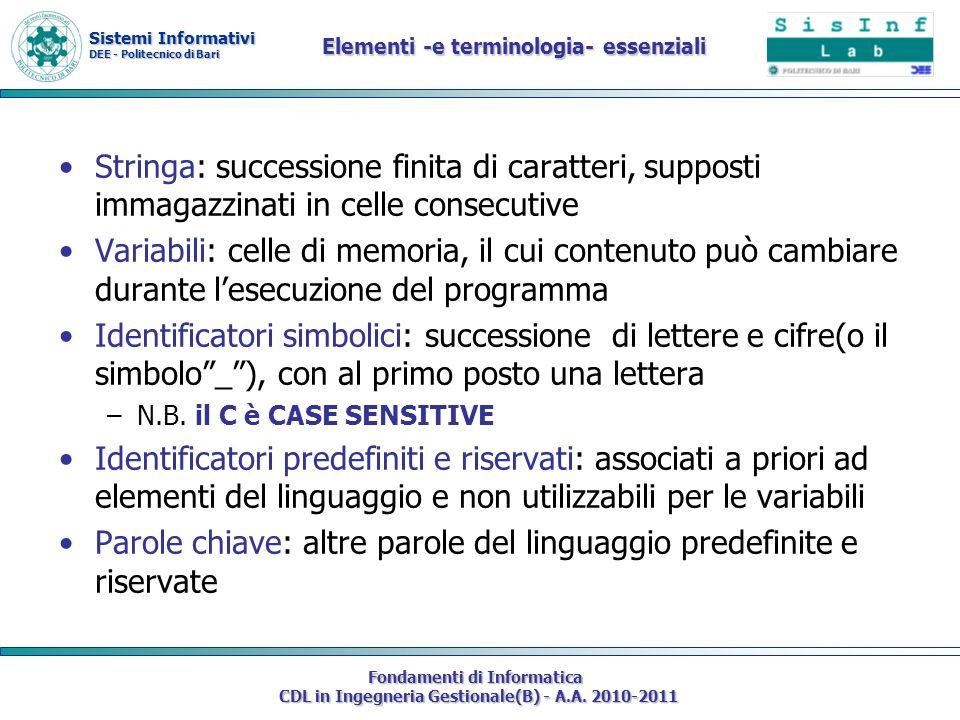 Sistemi Informativi DEE - Politecnico di Bari Fondamenti di Informatica CDL in Ingegneria Gestionale(B) - A.A. 2010-2011 Elementi -e terminologia- ess