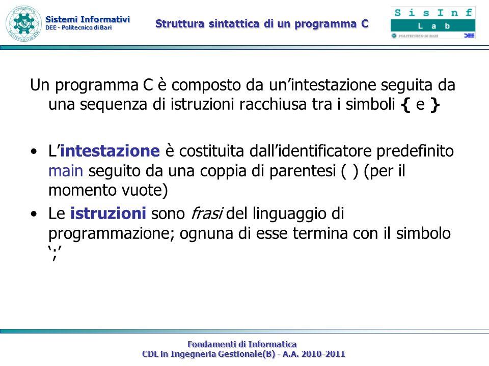 Sistemi Informativi DEE - Politecnico di Bari Fondamenti di Informatica CDL in Ingegneria Gestionale(B) - A.A. 2010-2011 Struttura sintattica di un pr