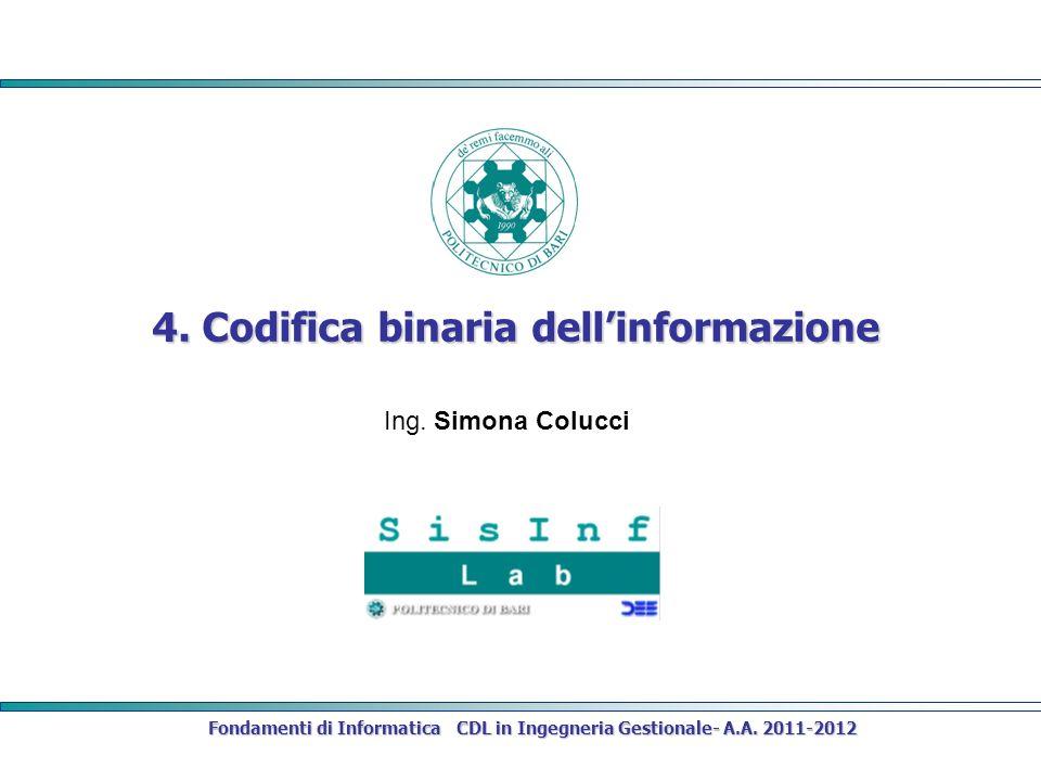 Fondamenti di Informatica CDL in Ingegneria Gestionale- A.A. 2011-2012 4. Codifica binaria dellinformazione Ing. Simona Colucci