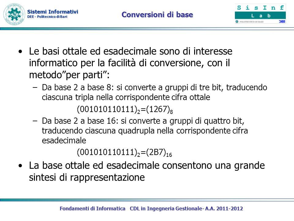 Sistemi Informativi DEE - Politecnico di Bari Fondamenti di Informatica CDL in Ingegneria Gestionale- A.A. 2011-2012 Conversioni di base Le basi ottal