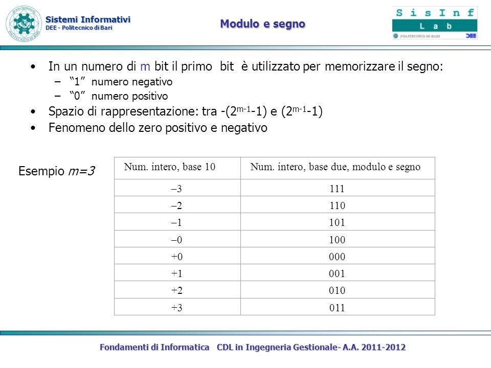 Sistemi Informativi DEE - Politecnico di Bari Fondamenti di Informatica CDL in Ingegneria Gestionale- A.A. 2011-2012 Modulo e segno In un numero di m