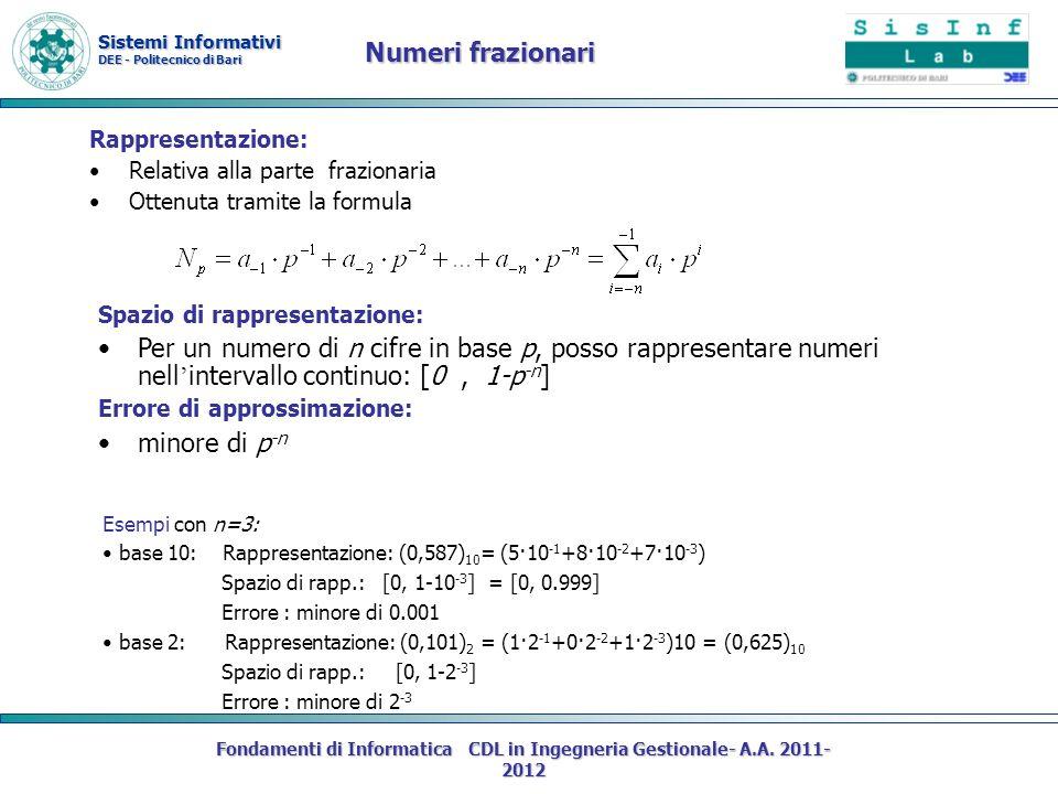 Sistemi Informativi DEE - Politecnico di Bari Fondamenti di Informatica CDL in Ingegneria Gestionale- A.A. 2011- 2012 Rappresentazione: Relativa alla