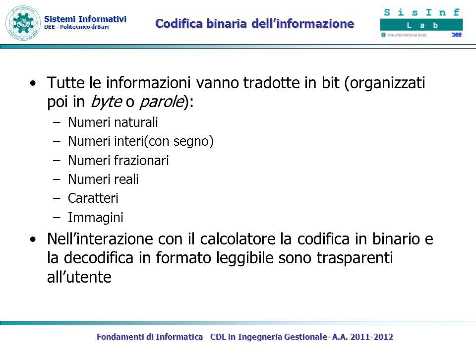 Sistemi Informativi DEE - Politecnico di Bari Fondamenti di Informatica CDL in Ingegneria Gestionale- A.A. 2011-2012 Codifica binaria dellinformazione
