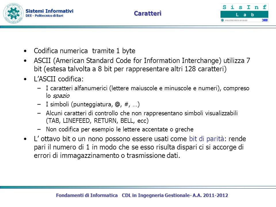 Sistemi Informativi DEE - Politecnico di Bari Fondamenti di Informatica CDL in Ingegneria Gestionale- A.A. 2011-2012 Caratteri Codifica numerica trami