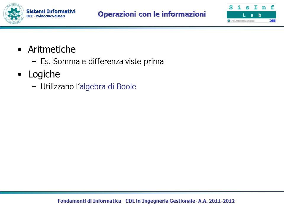 Sistemi Informativi DEE - Politecnico di Bari Fondamenti di Informatica CDL in Ingegneria Gestionale- A.A. 2011-2012 Operazioni con le informazioni Ar