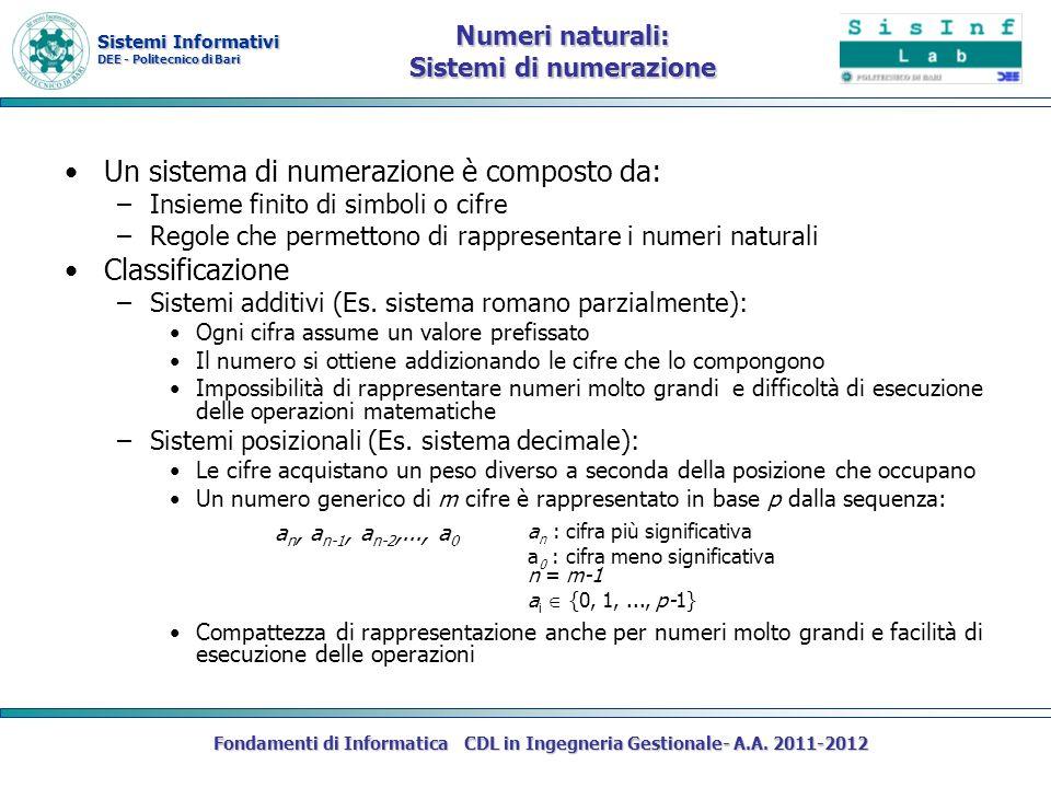 Sistemi Informativi DEE - Politecnico di Bari Fondamenti di Informatica CDL in Ingegneria Gestionale- A.A. 2011-2012 Numeri naturali: Sistemi di numer