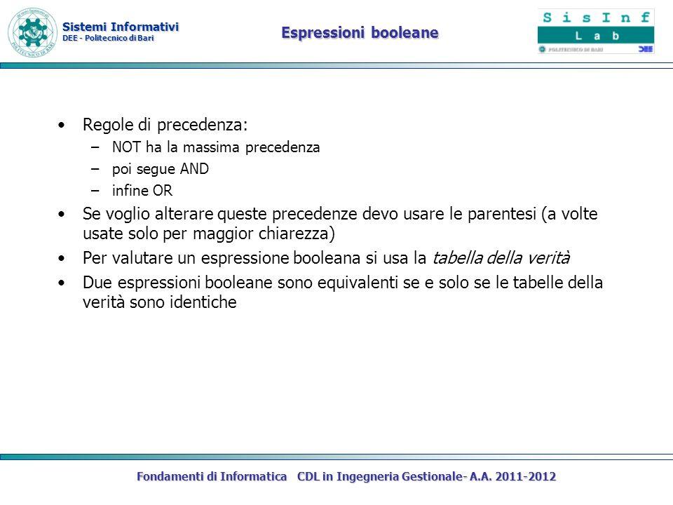 Sistemi Informativi DEE - Politecnico di Bari Fondamenti di Informatica CDL in Ingegneria Gestionale- A.A. 2011-2012 Espressioni booleane Regole di pr