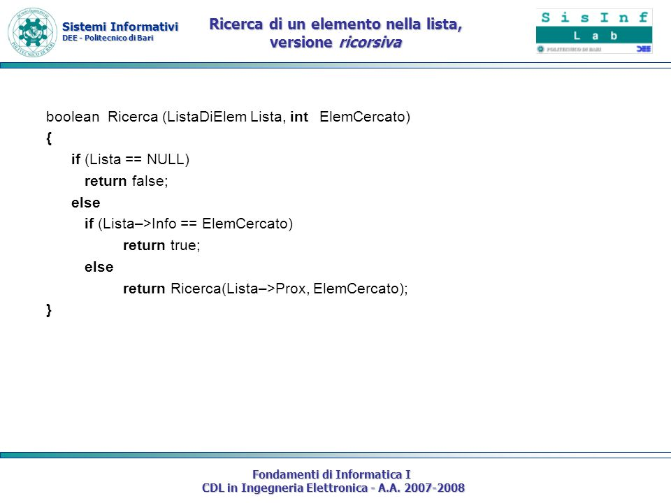 Sistemi Informativi DEE - Politecnico di Bari Fondamenti di Informatica I CDL in Ingegneria Elettronica - A.A. 2007-2008 boolean Ricerca (ListaDiElem