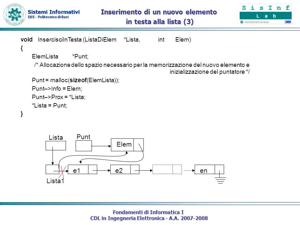 Sistemi Informativi DEE - Politecnico di Bari Fondamenti di Informatica I CDL in Ingegneria Elettronica - A.A. 2007-2008 voidInsercisciInTesta (ListaD