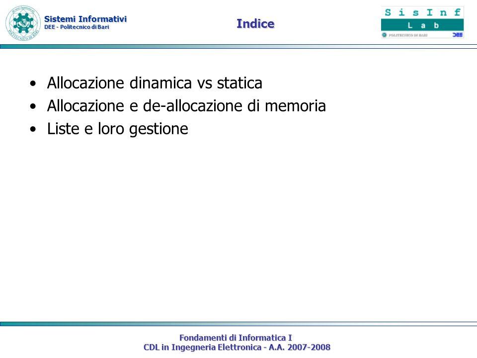 Sistemi Informativi DEE - Politecnico di Bari Fondamenti di Informatica I CDL in Ingegneria Elettronica - A.A. 2007-2008 Indice Allocazione dinamica v