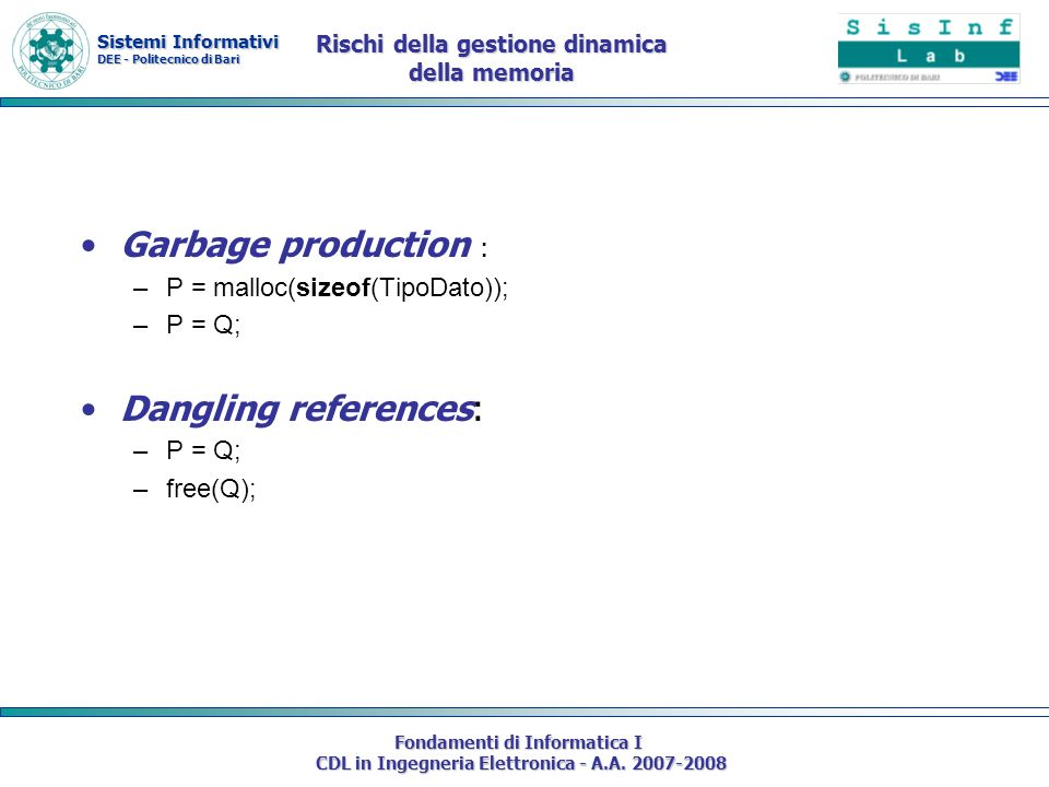 Sistemi Informativi DEE - Politecnico di Bari Fondamenti di Informatica I CDL in Ingegneria Elettronica - A.A. 2007-2008 Rischi della gestione dinamic