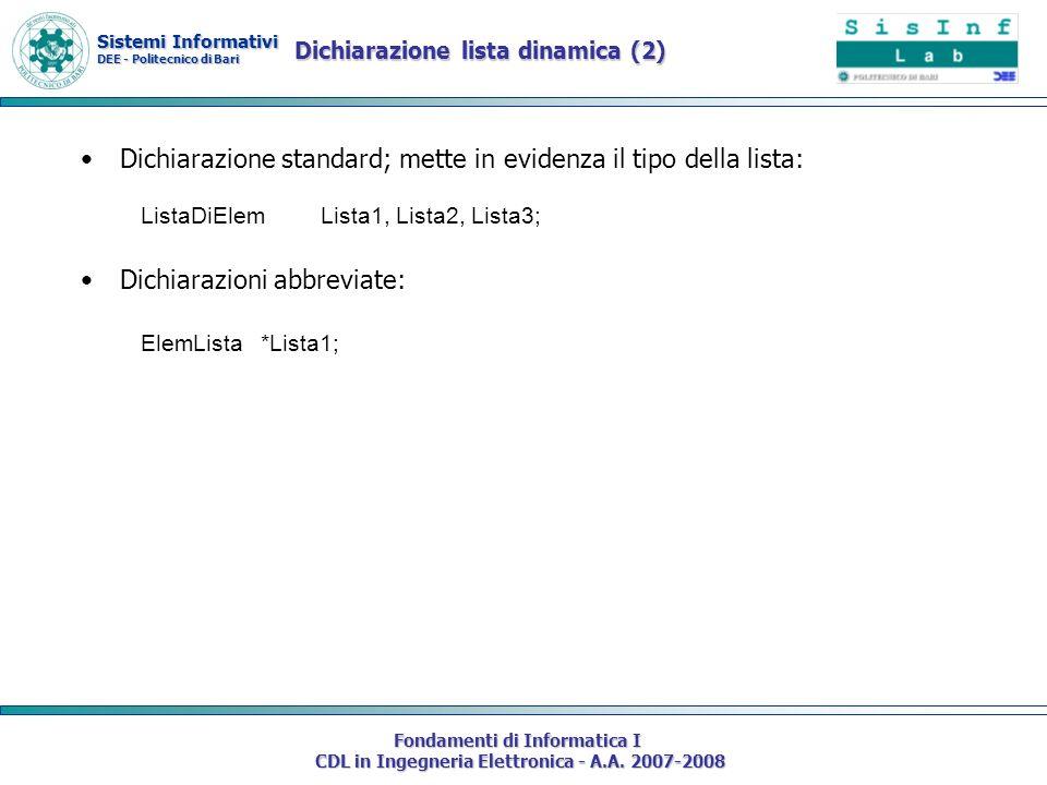Sistemi Informativi DEE - Politecnico di Bari Fondamenti di Informatica I CDL in Ingegneria Elettronica - A.A. 2007-2008 Dichiarazione standard; mette