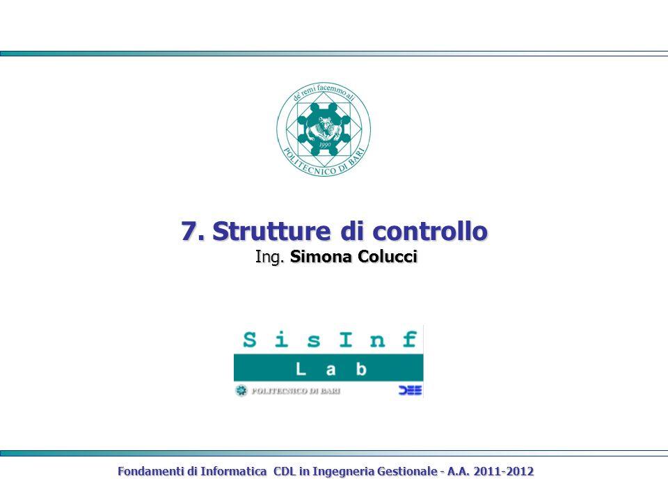 Fondamenti di Informatica CDL in Ingegneria Gestionale - A.A.