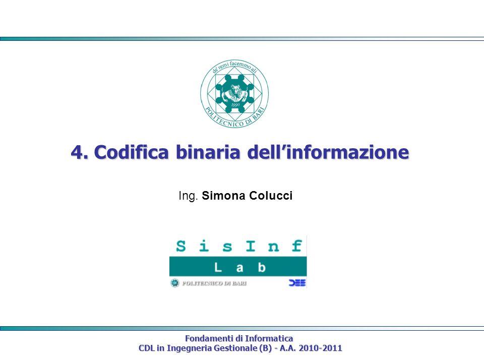 Fondamenti di Informatica CDL in Ingegneria Gestionale (B) - A.A. 2010-2011 CDL in Ingegneria Gestionale (B) - A.A. 2010-2011 4. Codifica binaria dell