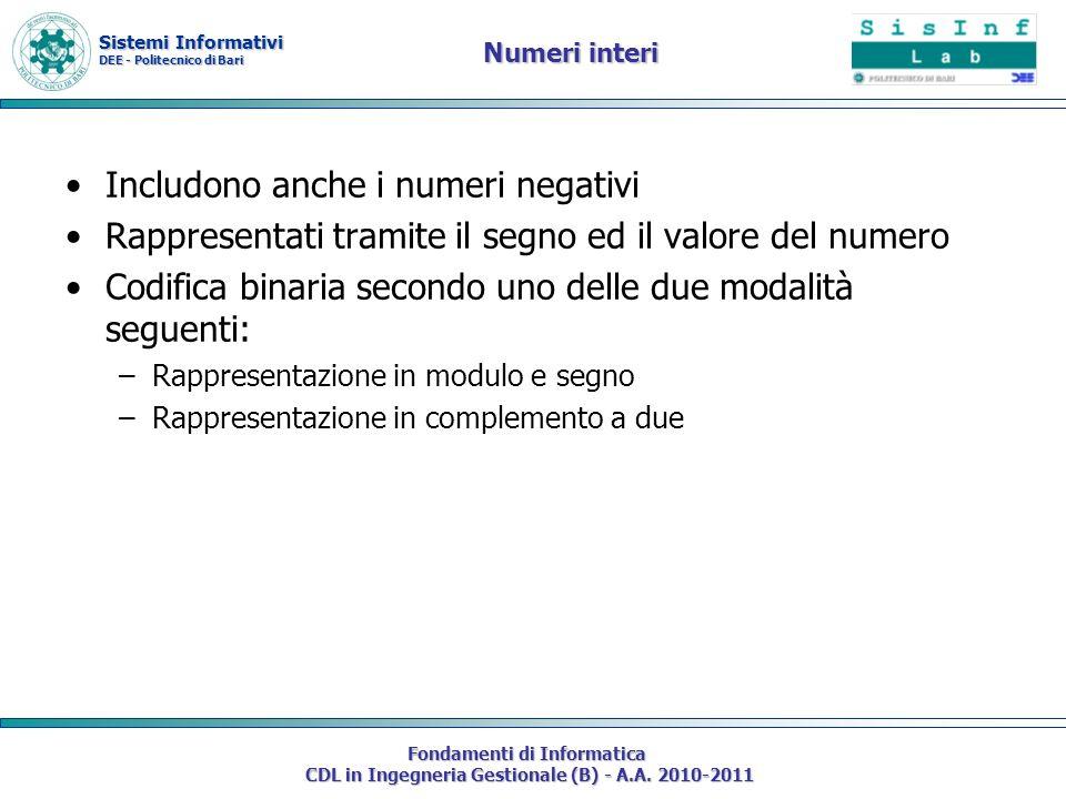 Sistemi Informativi DEE - Politecnico di Bari Fondamenti di Informatica CDL in Ingegneria Gestionale (B) - A.A. 2010-2011 Numeri interi Includono anch