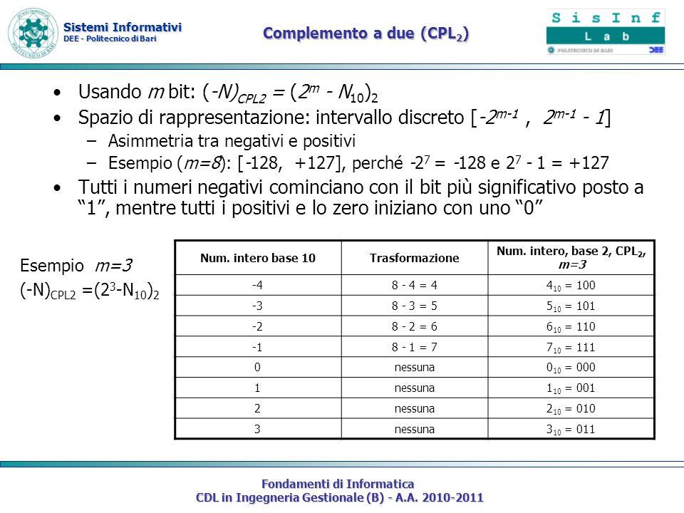 Sistemi Informativi DEE - Politecnico di Bari Fondamenti di Informatica CDL in Ingegneria Gestionale (B) - A.A. 2010-2011 Usando m bit: (-N) CPL2 = (2