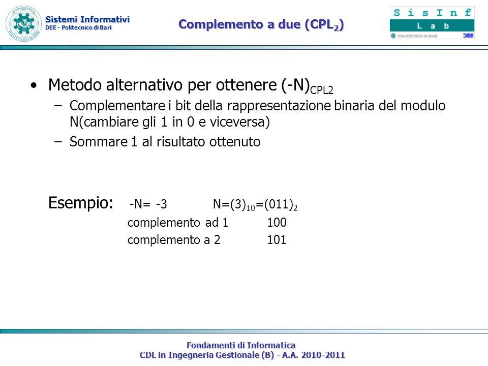 Sistemi Informativi DEE - Politecnico di Bari Fondamenti di Informatica CDL in Ingegneria Gestionale (B) - A.A. 2010-2011 Complemento a due (CPL 2 ) M