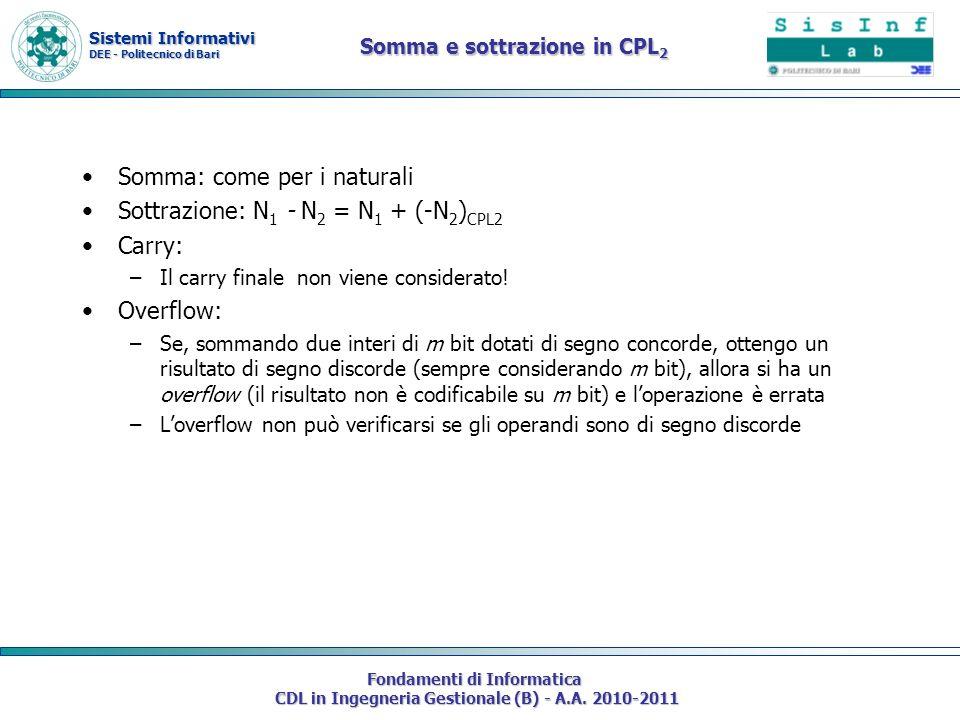 Sistemi Informativi DEE - Politecnico di Bari Fondamenti di Informatica CDL in Ingegneria Gestionale (B) - A.A. 2010-2011 Somma e sottrazione in CPL 2