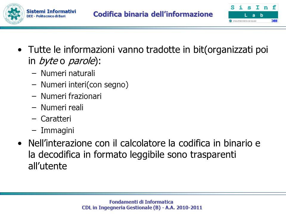 Sistemi Informativi DEE - Politecnico di Bari Fondamenti di Informatica CDL in Ingegneria Gestionale (B) - A.A. 2010-2011 Codifica binaria dellinforma