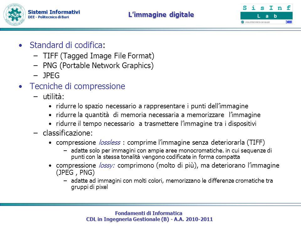 Sistemi Informativi DEE - Politecnico di Bari Fondamenti di Informatica CDL in Ingegneria Gestionale (B) - A.A. 2010-2011 Limmagine digitale Standard
