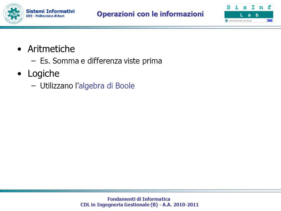 Sistemi Informativi DEE - Politecnico di Bari Fondamenti di Informatica CDL in Ingegneria Gestionale (B) - A.A. 2010-2011 Operazioni con le informazio