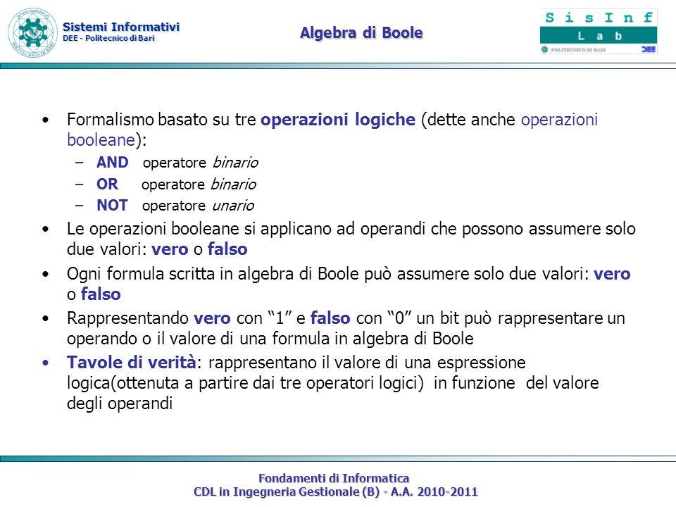 Sistemi Informativi DEE - Politecnico di Bari Fondamenti di Informatica CDL in Ingegneria Gestionale (B) - A.A. 2010-2011 Algebra di Boole Formalismo