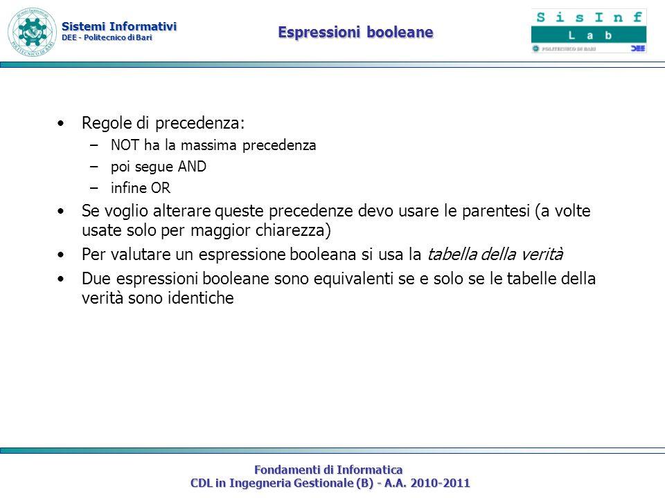 Sistemi Informativi DEE - Politecnico di Bari Fondamenti di Informatica CDL in Ingegneria Gestionale (B) - A.A. 2010-2011 Espressioni booleane Regole