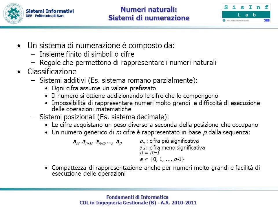 Sistemi Informativi DEE - Politecnico di Bari Fondamenti di Informatica CDL in Ingegneria Gestionale (B) - A.A. 2010-2011 Numeri naturali: Sistemi di