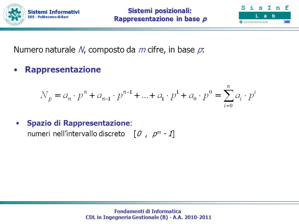 Sistemi Informativi DEE - Politecnico di Bari Fondamenti di Informatica CDL in Ingegneria Gestionale (B) - A.A. 2010-2011 Numero naturale N, composto