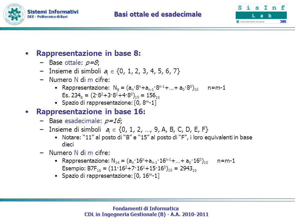 Sistemi Informativi DEE - Politecnico di Bari Fondamenti di Informatica CDL in Ingegneria Gestionale (B) - A.A. 2010-2011 Basi ottale ed esadecimale R