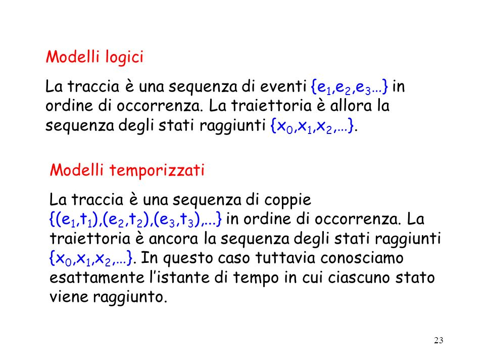 23 Modelli logici La traccia è una sequenza di eventi {e 1,e 2,e 3 …} in ordine di occorrenza. La traiettoria è allora la sequenza degli stati raggiun