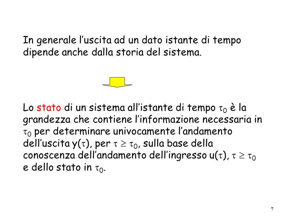 8 Si definiscono equazioni di stato linsieme di equazioni che determinano lo stato x( ) per ogni 0 sulla base di x( 0 ) e di u( ), 0.
