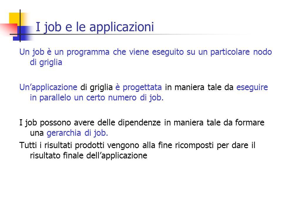 I job e le applicazioni Un job è un programma che viene eseguito su un particolare nodo di griglia Unapplicazione di griglia è progettata in maniera t