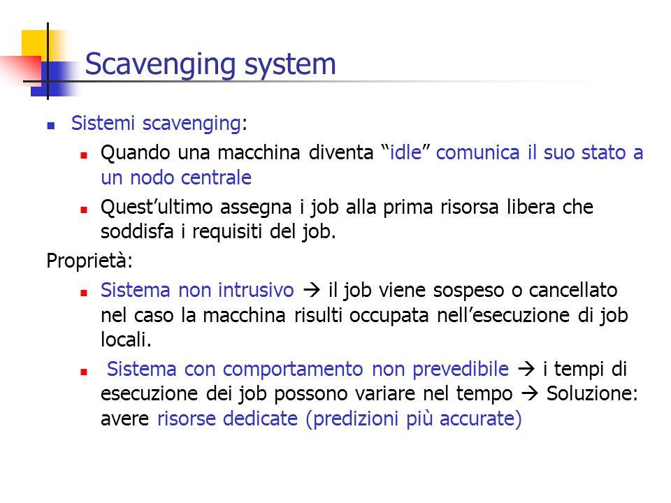 Scavenging system Sistemi scavenging: Quando una macchina diventa idle comunica il suo stato a un nodo centrale Questultimo assegna i job alla prima r