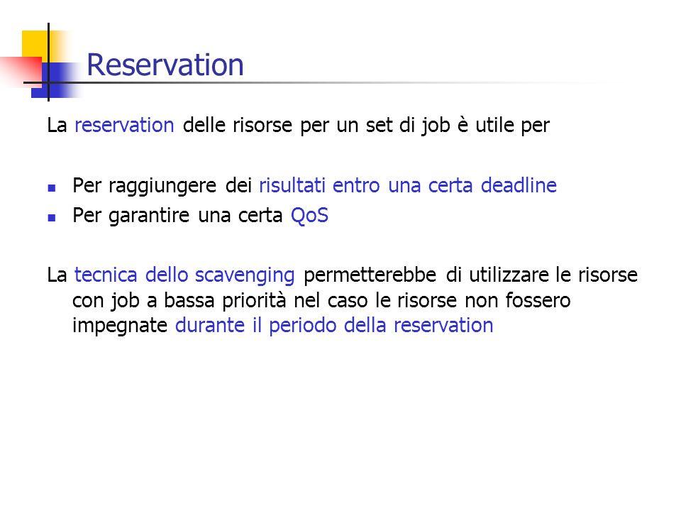 Reservation La reservation delle risorse per un set di job è utile per Per raggiungere dei risultati entro una certa deadline Per garantire una certa