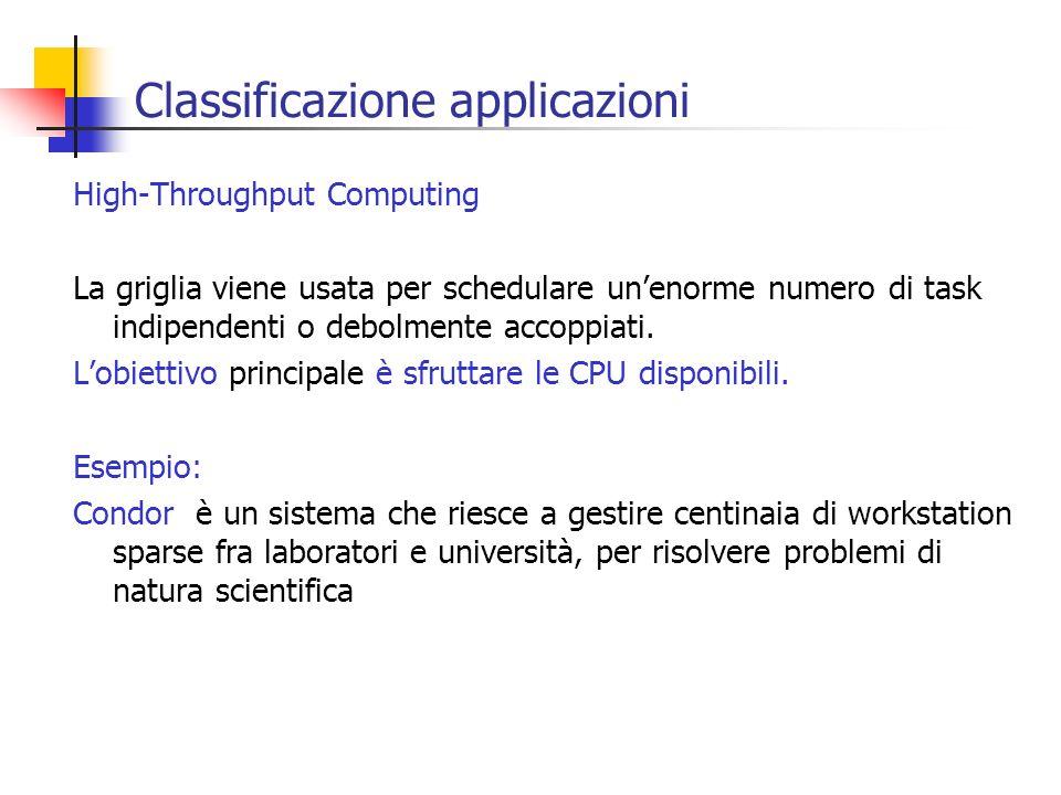 Classificazione applicazioni High-Throughput Computing La griglia viene usata per schedulare unenorme numero di task indipendenti o debolmente accoppi