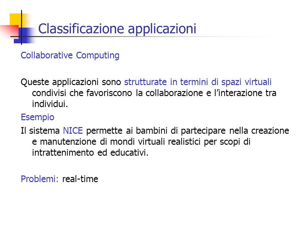 Classificazione applicazioni Collaborative Computing Queste applicazioni sono strutturate in termini di spazi virtuali condivisi che favoriscono la co