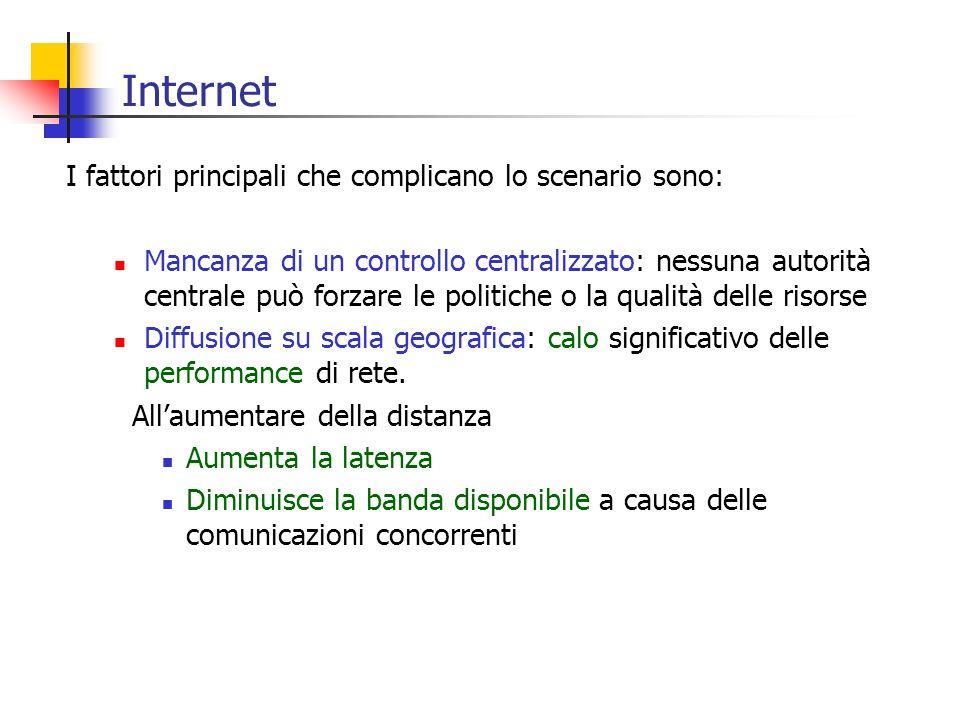 Internet I fattori principali che complicano lo scenario sono: Mancanza di un controllo centralizzato: nessuna autorità centrale può forzare le politi