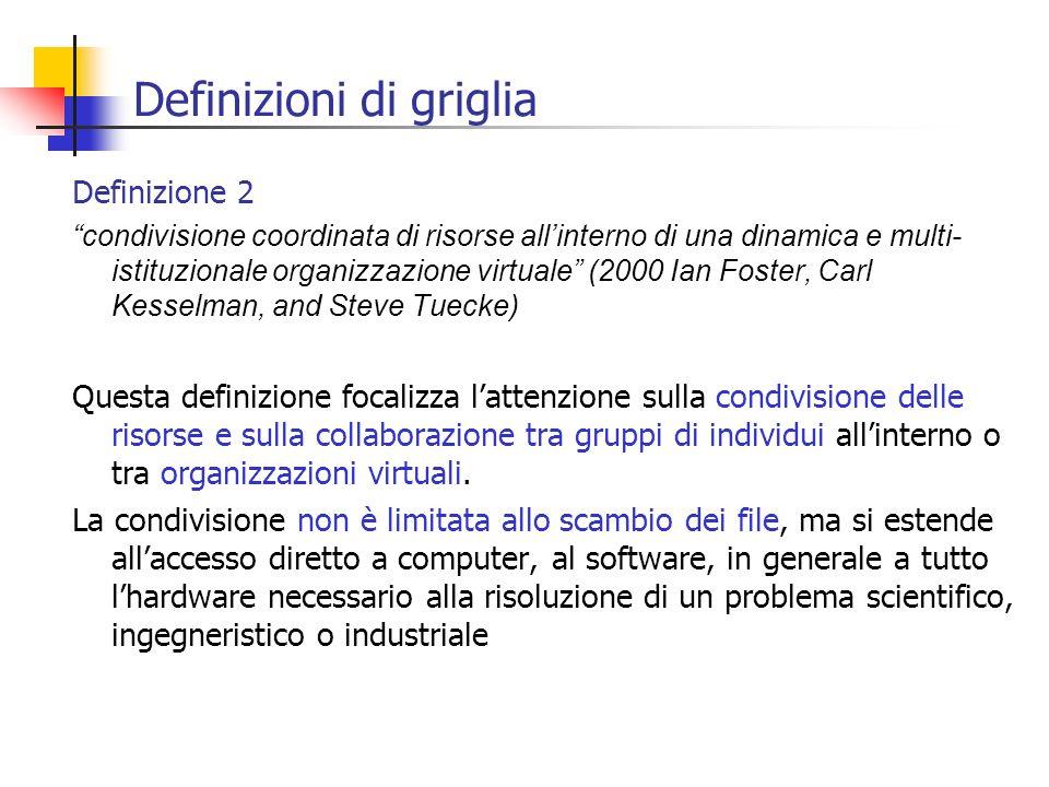 Definizioni di griglia Definizione 2 condivisione coordinata di risorse allinterno di una dinamica e multi- istituzionale organizzazione virtuale (200